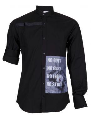 STEFAN Ανδρικό μαύρο μακρυμάνικο μάο πουκάμισο, στάμπα