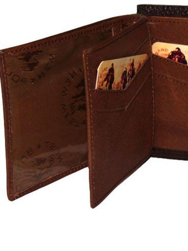 Ανδρικό δερμάτινο καφέ πορτοφόλι, προστασία RFID