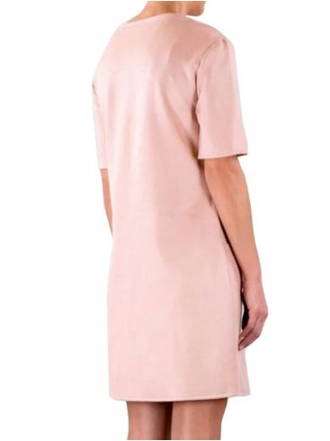RINO PELLE Ολλανδικό ρόζ κοντομάνικο ανάγλυφο midi φόρεμα OVED.700S20 Rose Dauwn
