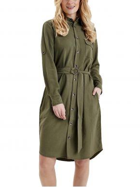 FRANSA Μακρυμάνικο ελαφρύ λαδί φόρεμα