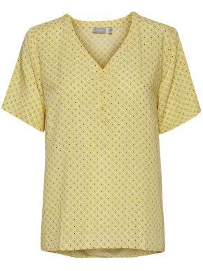FRANSA Γυναικείο κίτρινο κοντομάνικο πουκάμισο καφτάνι