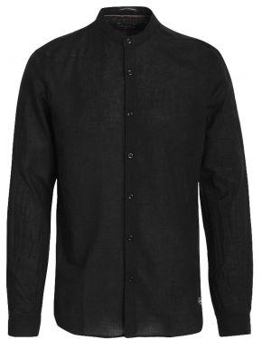 FUNKY BUDDHA Ανδρικό μαύρο μάο πουκάμισο FBM00102805 BLACK