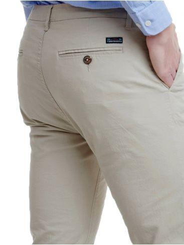 FUNKY BUDDHA Ανδρικό εκρού τσίνος ίσιο υφασμάτινο παντελόνι FBM00100102 BEIGE