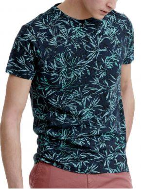 FUNKY BUDDHA Ανδρικό πράσινο T-Shirt με τύπωμα FBM00106404 NAVY