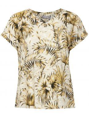 FRANSA Γυναικεία μπέζ-κίτρινη κοντομάνικη μπλούζα φλάμα