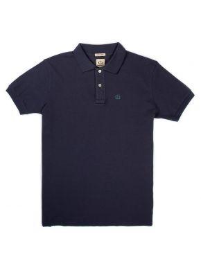 BASEHIT Ανδρική μπλέ κοντομάνικη πικέ πόλο μπλούζα EM35.71 BLUE