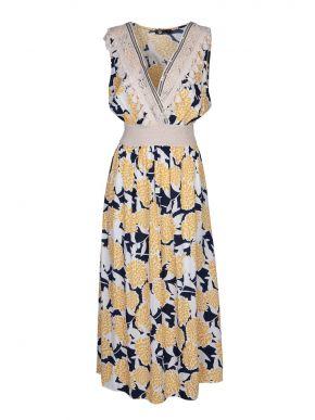 M MADE IN ITALY Πολύχρωμο αμάνικο έθνικ φόρεμα, κρουαζέ