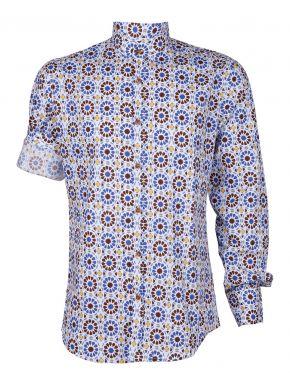 STEFAN Ανδρικό πολύχρωμο μακρυμάνικο μάο πουκάμισο