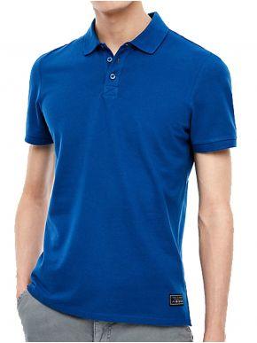 S.OLIVER Ανδρικό μπλέ πικέ πόλο μπλουζάκι