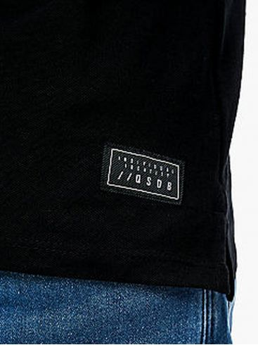 S.OLIVER Ανδρικό μαύρο πικέ πόλο μπλουζάκι
