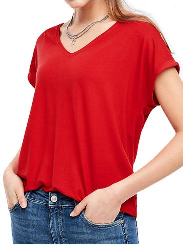 S.OLIVER Γυναικείο κόκκινο κοντομάνικο ελαστικό μπλουζάκι V