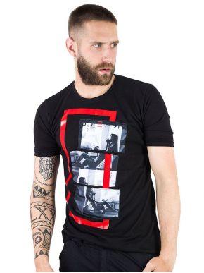 STEFAN Ανδρικό μαύρο μπλουζάκι T-Shirt 3501
