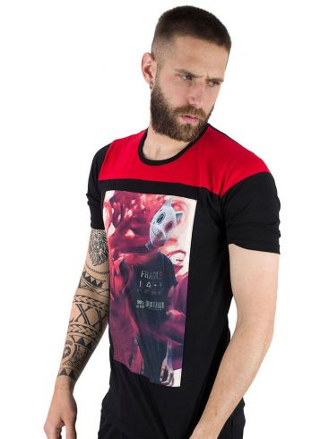 STEFAN Ανδρικό μαύρο μπλουζάκι T-Shirt, στάμπα