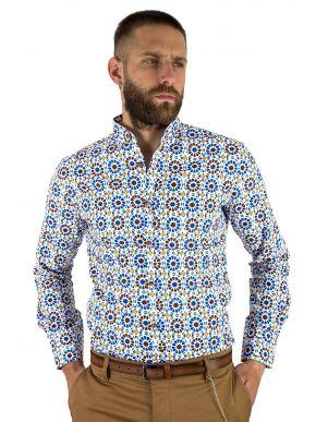 STEFAN Ανδρικό πολύχρωμο μακρυμάνικο μάο πουκάμισο 9036