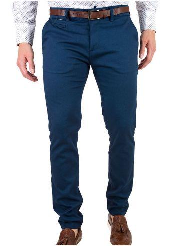 STEFAN Ανδρικό μπλέ τσίνος ανάγλυφο παντελόνι κουστουμιού,