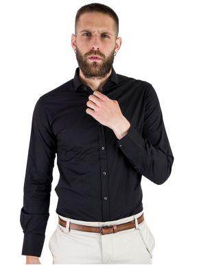 STEFAN Ανδρικό μαύρο πουκάμισο, slim fit, 9056