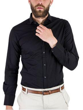 STEFAN Ανδρικό μαύρο πουκάμισο, slim fit