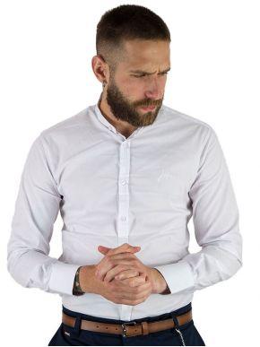 STEFAN Ανδρικό λευκό μακρυμάνικο μάο πουκάμισο, slim fit, 9022