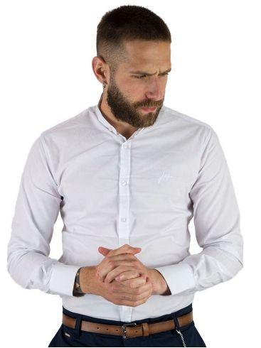 STEFAN Ανδρικό λευκό μακρυμάνικο μάο πουκάμισο, slim fit