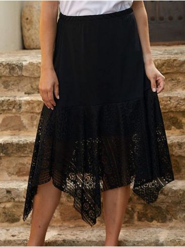 RAXSTA Μαύρη μίντι ελαστική φούστα, μύτες