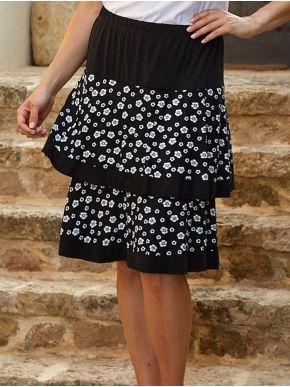 ANNA RAXEVSKY Ασπρόμαυρη ελαστική φούστα με βολάν, φλοράλ φάσες