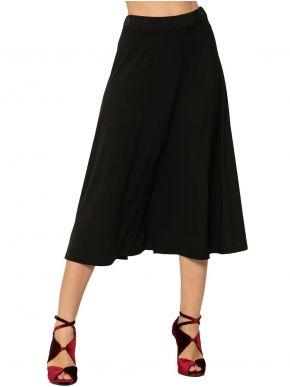RAXSTA Μαύρη ελαστική φούστα midi ψηλόμεση, κλος γραμμή