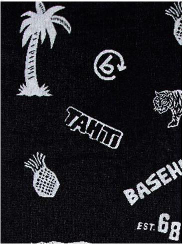 BASEHIT Μαύρη πετσέτα παραλίας 191.BU04.67
