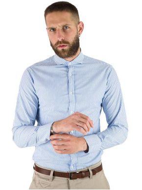 STEFAN Ανδρικό γαλάζιο μακρυμάνικο ριγέ πουκάμισο, γιακάς