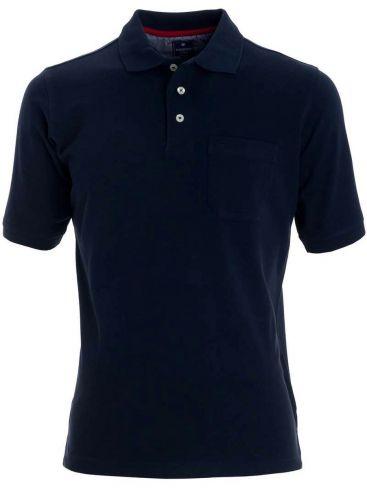 REDMOND Ανδρική μπλέ navyκοντομάνικη άνετη πικέ πόλο μπλούζα, τσεπάκι