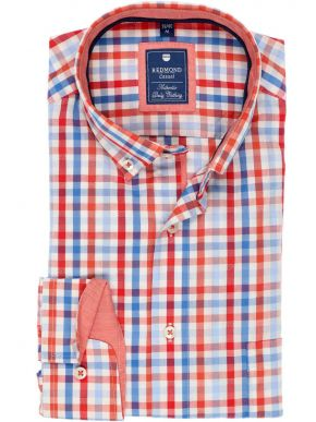 REDMOND Ανδρικό πορτοκαλί-γαλαζιο-λευκό μακρυμάνικο καρό πουκάμισο