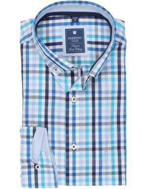 REDMOND Ανδρικό λευκό-μπλέ-βεραμάν μακρυμάνικο καρό πουκάμισο