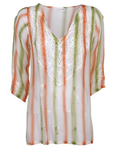 MIR by Skondras πολύχρωμο ημιδιάφανο πουκάμισο καφτάνι.