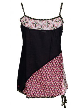 LUSSILE Κοντομάνικο εμπριμέ φόρεμα μουσελίνας