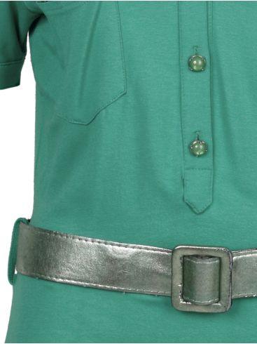 RAXEVSKY Πράσινο κοντομάνικο ελαστικό μακώ φόρεμα