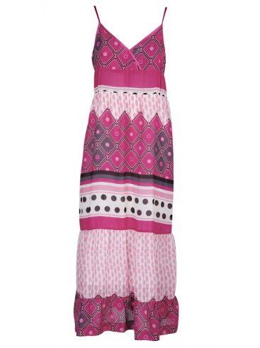 RAXEVSKY Κοντομάνικο εμπριμέ φόρεμα μουσελίνας