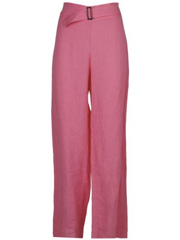 ESTI Ρόζ λινή φαρδιά ψιλοκάβαλη παντελόνα