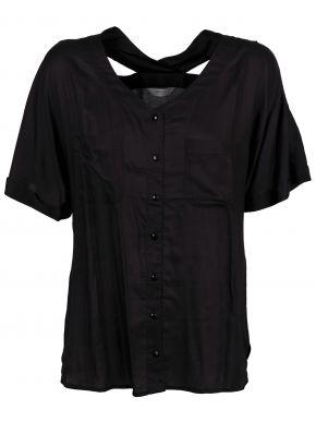 SARAH LAWRENCE Γυναικείο μαύρο κοντομάνικο πουκάμισο γάζα