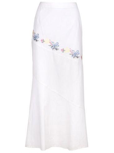TANIA MOD Λευκή μακριά ελαστική φούστα