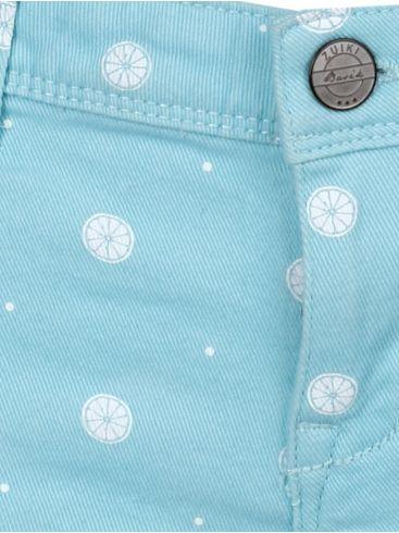 ZUIKI Γυναικείο γαλάζιο πουά ελαστικό κοντό τζίν σόρτς