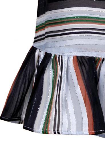 ZUIKI Ιταλικό Γυναικείο πολύχρωμο ριγέ αμάνικο τοπάκι