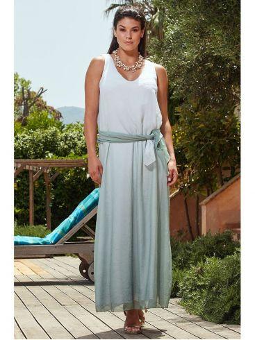 RAXSTA Μάξι αμάνικο φόρεμα αμάνικο παστέλ άλφα φόρεμα.