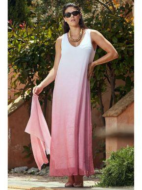 RAXSTA Μάξι αμάνικο φόρεμα αμάνικο ρόζ άλφα φόρεμα DF20100.