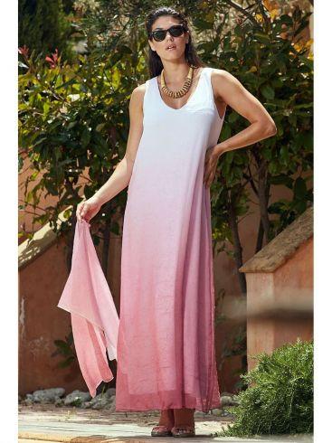RAXSTA Μάξι αμάνικο φόρεμα αμάνικο ρόζ άλφα φόρεμα.