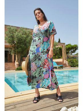 RAXSTA Εμπριμέ κοντομάνικο μάξι φόρεμα, κρουαζέ μπούστο D20112