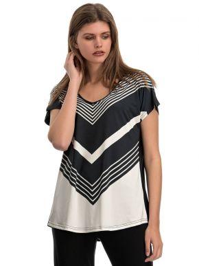 RAXSTA Ασπρόμαυρη ζαπονέ ριγέ μπλούζα, B20135