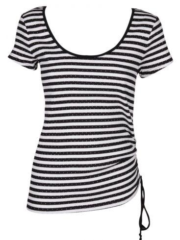 MiSMASH Ισπανικό γυναικείο ασπρόμαυρο ριγέ ελαστικό μπλουζάκι