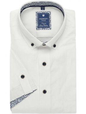 REDMOND Ανδρικό λευκό λεπτό μακρυμάνικο πουκάμισο