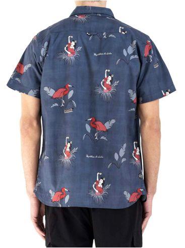 BASEHIT Κοντουμάνικο πουκάμισο 201.BM61.02 BLUE