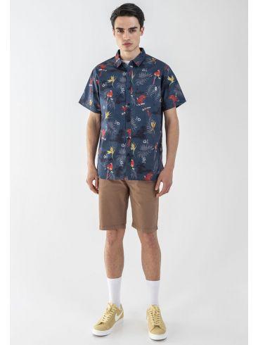 EMERSON Ανδρικό ελαστικό κοντομάνικο Hawaiian πουκάμισο 201.BM61.02 BLUE