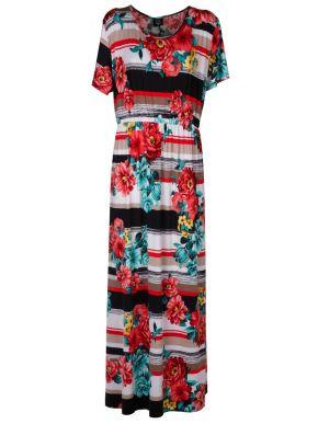 GR FASHION Μάξι φλοράλ ελαστικό φόρεμα μαγιόπανο